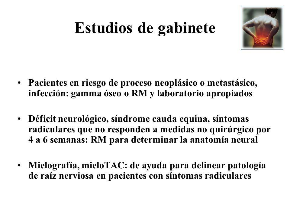 Pacientes en riesgo de proceso neoplásico o metastásico, infección: gamma óseo o RM y laboratorio apropiados Déficit neurológico, síndrome cauda equin