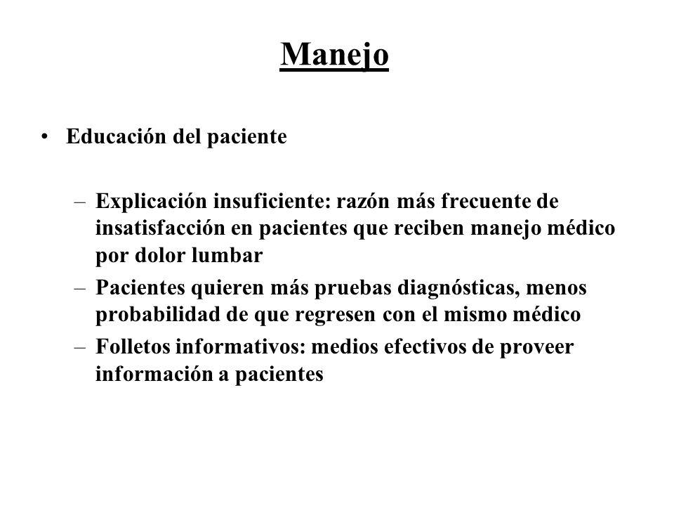 Manejo Educación del paciente –Explicación insuficiente: razón más frecuente de insatisfacción en pacientes que reciben manejo médico por dolor lumbar