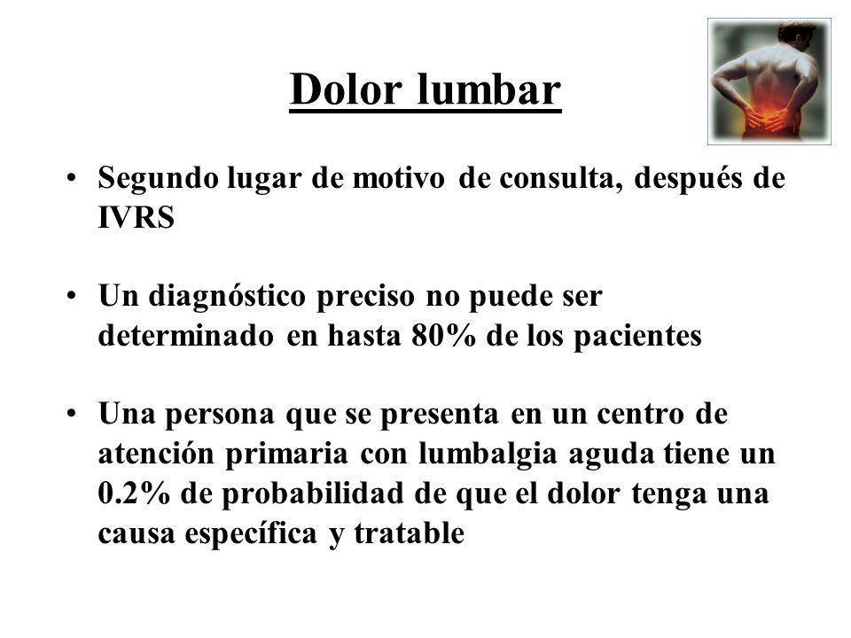 Dolor lumbar Segundo lugar de motivo de consulta, después de IVRS Un diagnóstico preciso no puede ser determinado en hasta 80% de los pacientes Una pe