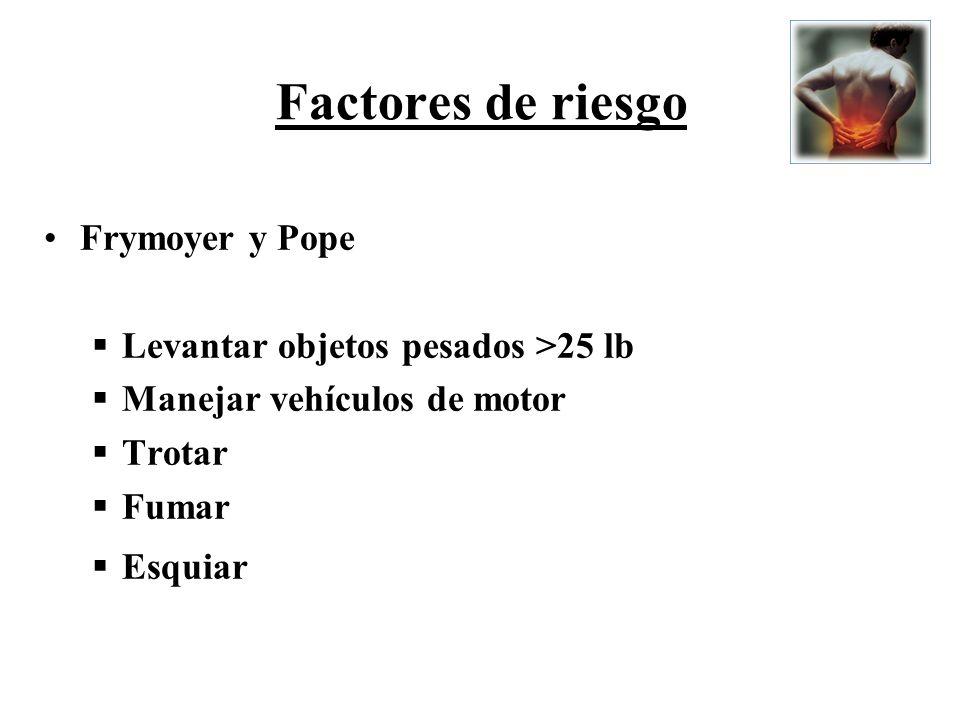 Factores de riesgo Frymoyer y Pope Levantar objetos pesados >25 lb Manejar vehículos de motor Trotar Fumar Esquiar