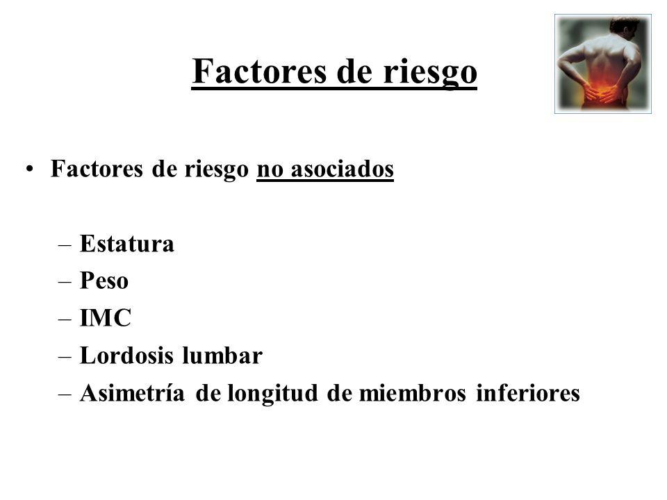 Factores de riesgo no asociados –Estatura –Peso –IMC –Lordosis lumbar –Asimetría de longitud de miembros inferiores Factores de riesgo