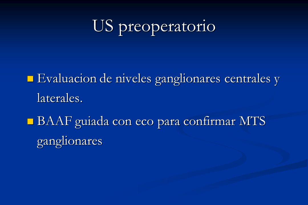 US preoperatorio Evaluacion de niveles ganglionares centrales y laterales. Evaluacion de niveles ganglionares centrales y laterales. BAAF guiada con e