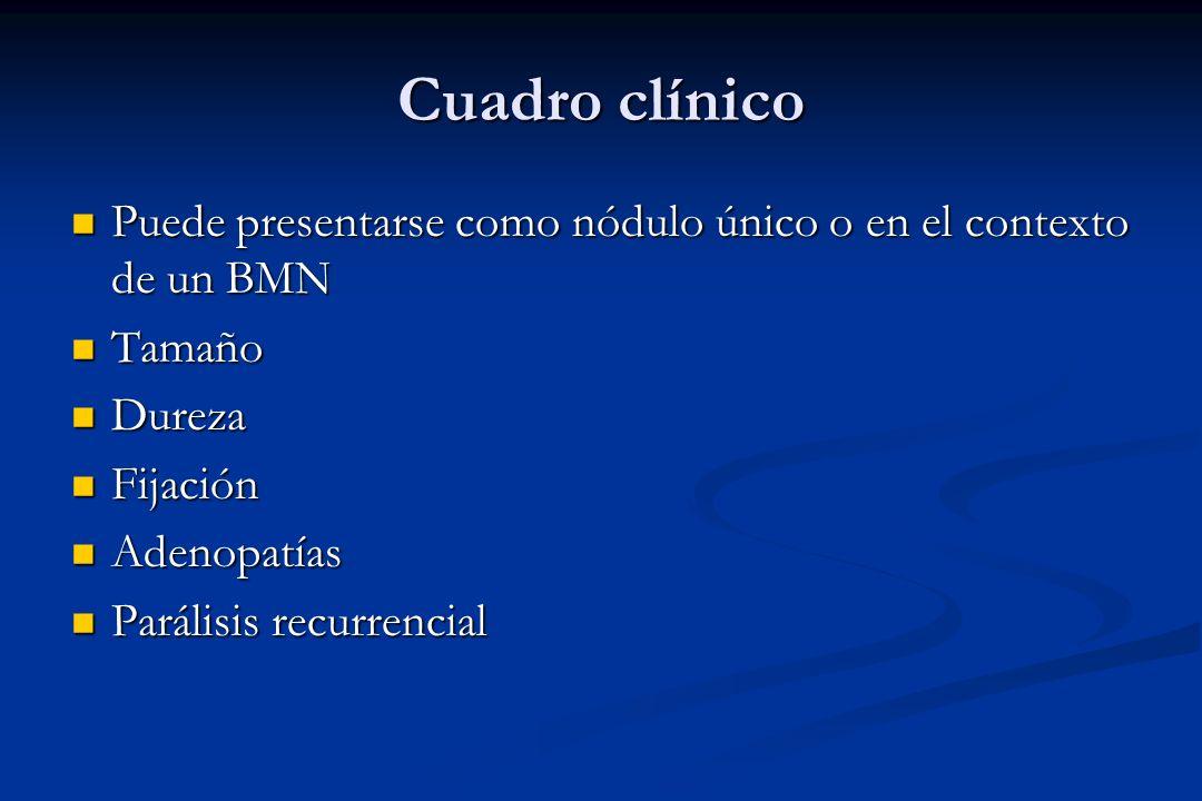 Cuadro clínico Puede presentarse como nódulo único o en el contexto de un BMN Puede presentarse como nódulo único o en el contexto de un BMN Tamaño Ta