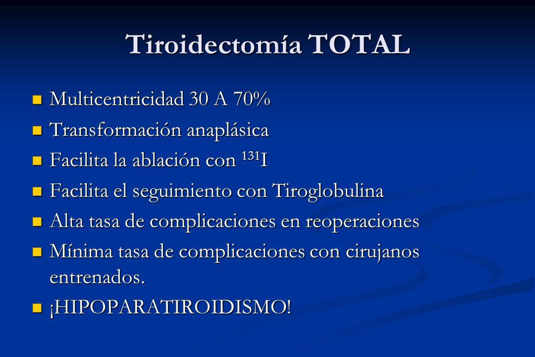 Tiroidectomía TOTAL Multicentricidad 30 A 70% Multicentricidad 30 A 70% Transformación anaplásica Transformación anaplásica Facilita la ablación con 1