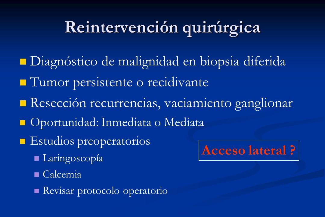 Reintervención quirúrgica Diagnóstico de malignidad en biopsia diferida Tumor persistente o recidivante Resección recurrencias, vaciamiento ganglionar