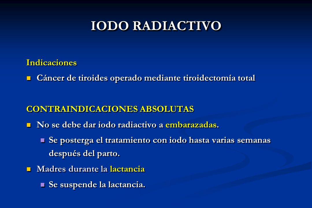 Indicaciones Cáncer de tiroides operado mediante tiroidectomía total CONTRAINDICACIONES ABSOLUTAS No se debe dar iodo radiactivo a embarazadas. Se pos
