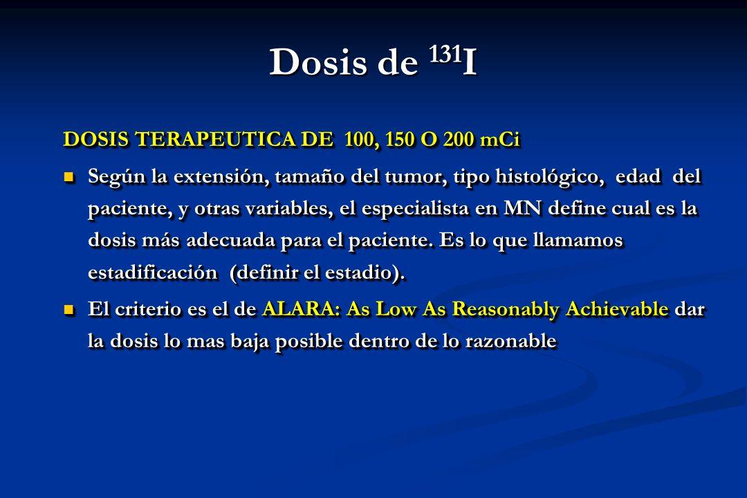 DOSIS TERAPEUTICA DE 100, 150 O 200 mCi Según la extensión, tamaño del tumor, tipo histológico, edad del paciente, y otras variables, el especialista