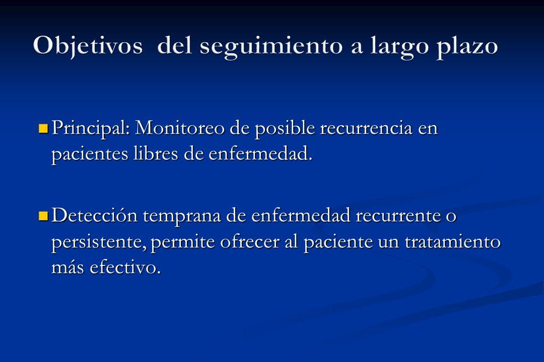 Principal: Monitoreo de posible recurrencia en pacientes libres de enfermedad. Principal: Monitoreo de posible recurrencia en pacientes libres de enfe