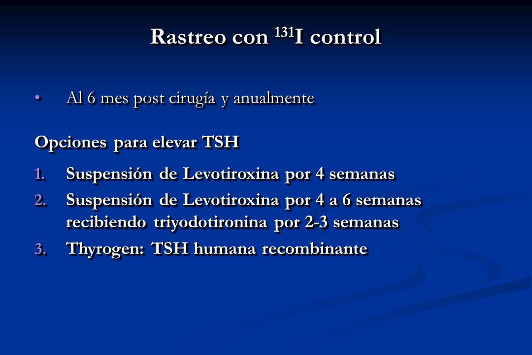 Rastreo con 131 I control Al 6 mes post cirugía y anualmente Al 6 mes post cirugía y anualmente Opciones para elevar TSH 1. Suspensión de Levotiroxina