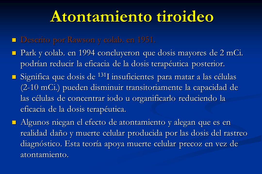 Atontamiento tiroideo Descrito por Rawson y colab. en 1951. Descrito por Rawson y colab. en 1951. Park y colab. en 1994 concluyeron que dosis mayores