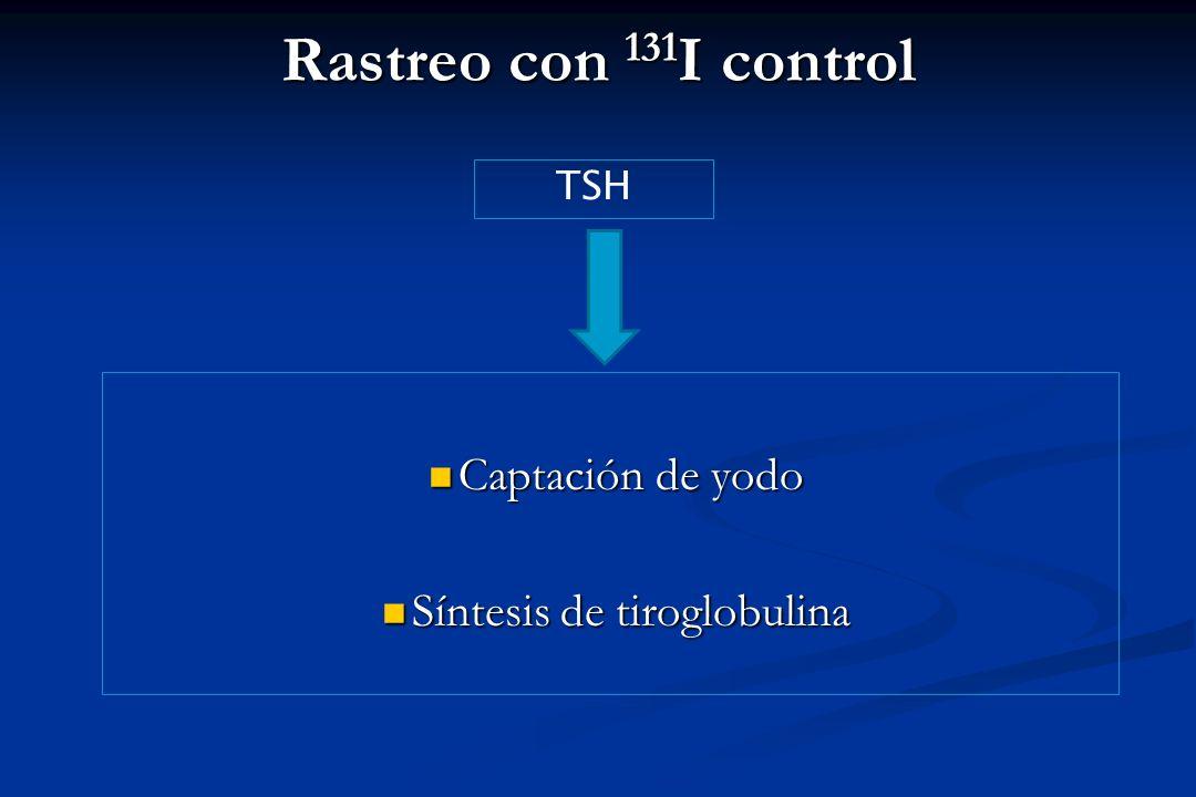 Rastreo con 131 I control Captación de yodo Captación de yodo Síntesis de tiroglobulina Síntesis de tiroglobulina TSH
