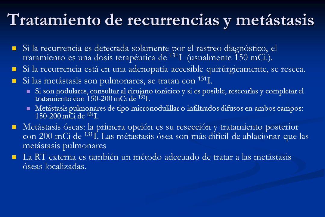 Tratamiento de recurrencias y metástasis Si la recurrencia es detectada solamente por el rastreo diagnóstico, el tratamiento es una dosis terapéutica