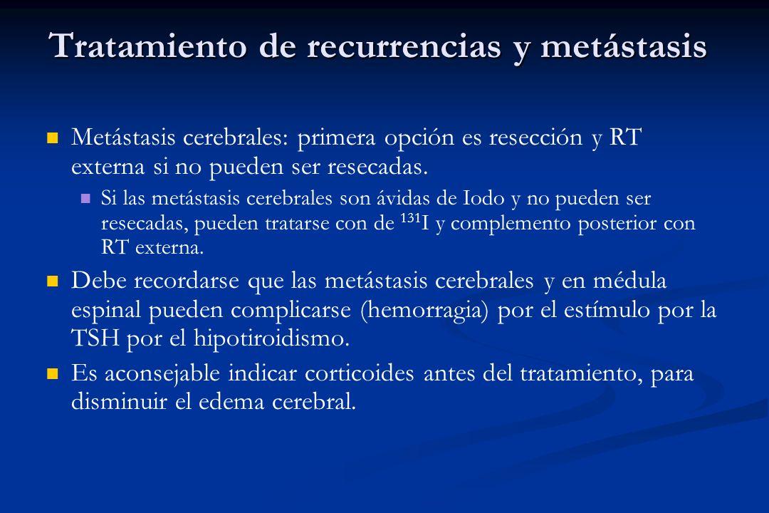 Tratamiento de recurrencias y metástasis Metástasis cerebrales: primera opción es resección y RT externa si no pueden ser resecadas. Si las metástasis