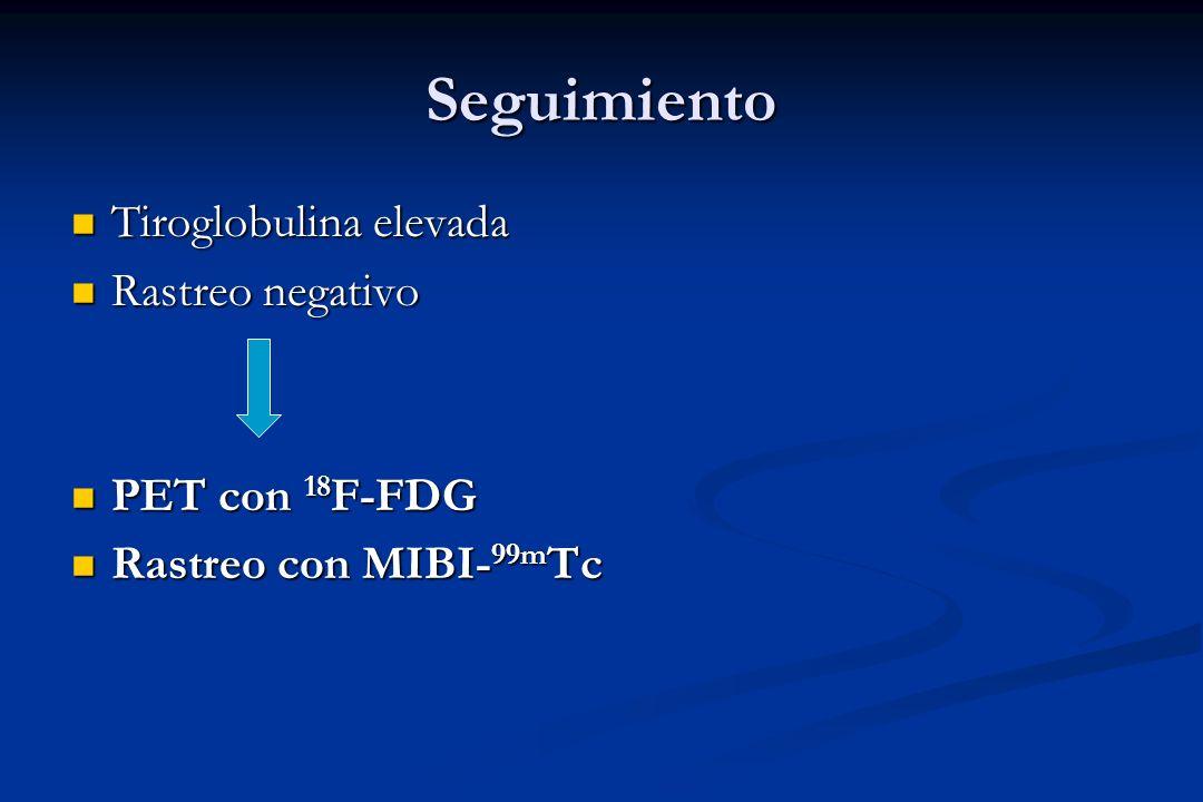 Seguimiento Tiroglobulina elevada Tiroglobulina elevada Rastreo negativo Rastreo negativo PET con 18 F-FDG PET con 18 F-FDG Rastreo con MIBI- 99m Tc R