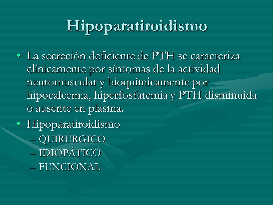 Hipoparatiroidismo La secreción deficiente de PTH se caracteriza clínicamente por síntomas de la actividad neuromuscular y bioquímicamente por hipocal