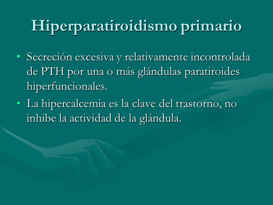 Hiperparatiroidismo primario Secreción excesiva y relativamente incontrolada de PTH por una o más glándulas paratiroides hiperfuncionales.Secreción ex