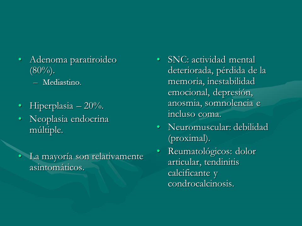 Adenoma paratiroideo (80%).Adenoma paratiroideo (80%). –Mediastino. Hiperplasia – 20%.Hiperplasia – 20%. Neoplasia endocrina múltiple.Neoplasia endocr