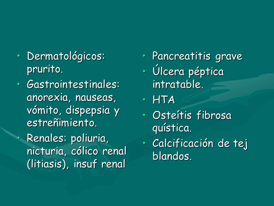 Dermatológicos: prurito.Dermatológicos: prurito. Gastrointestinales: anorexia, nauseas, vómito, dispepsia y estreñimiento.Gastrointestinales: anorexia