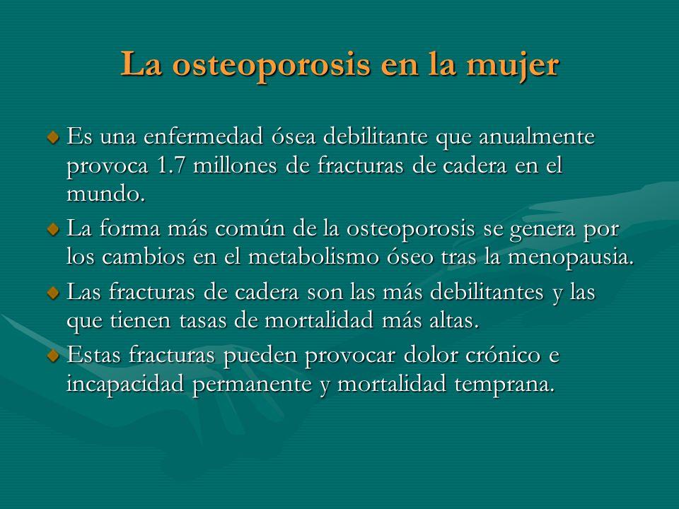 La osteoporosis en la mujer Es una enfermedad ósea debilitante que anualmente provoca 1.7 millones de fracturas de cadera en el mundo. La forma más co