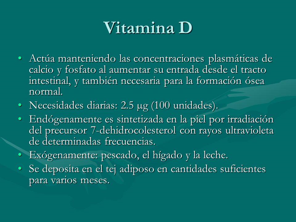 Vitamina D Actúa manteniendo las concentraciones plasmáticas de calcio y fosfato al aumentar su entrada desde el tracto intestinal, y también necesari
