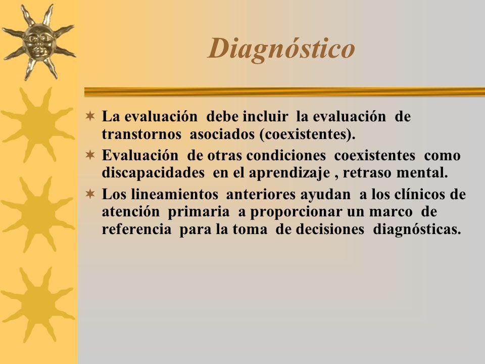 Diagnóstico La evaluación debe incluir la evaluación de transtornos asociados (coexistentes). Evaluación de otras condiciones coexistentes como discap