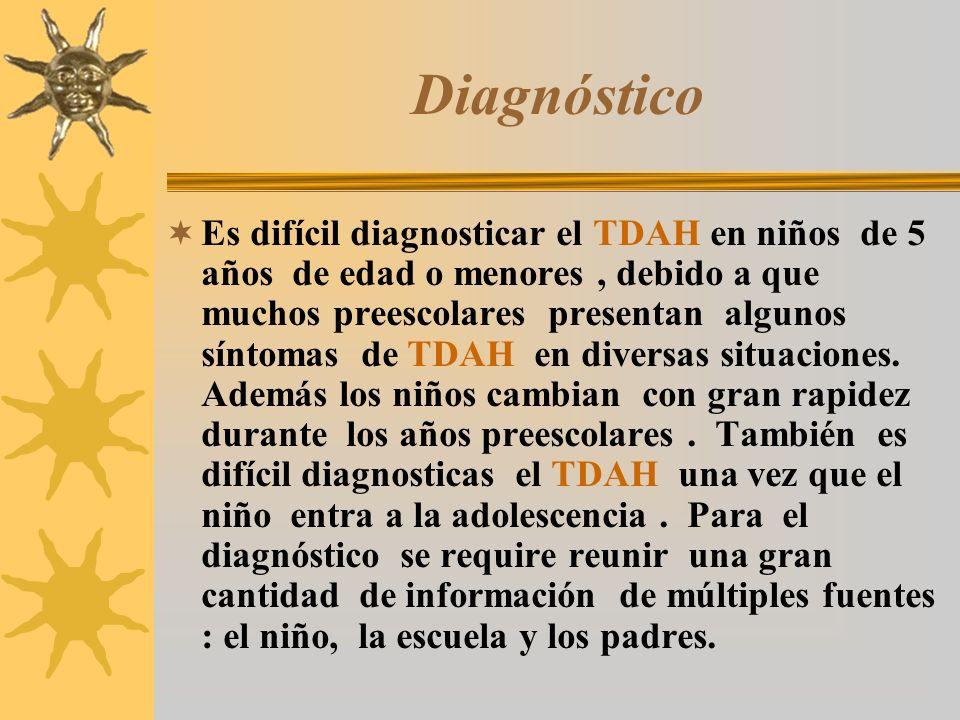 Diagnóstico Es difícil diagnosticar el TDAH en niños de 5 años de edad o menores, debido a que muchos preescolares presentan algunos síntomas de TDAH
