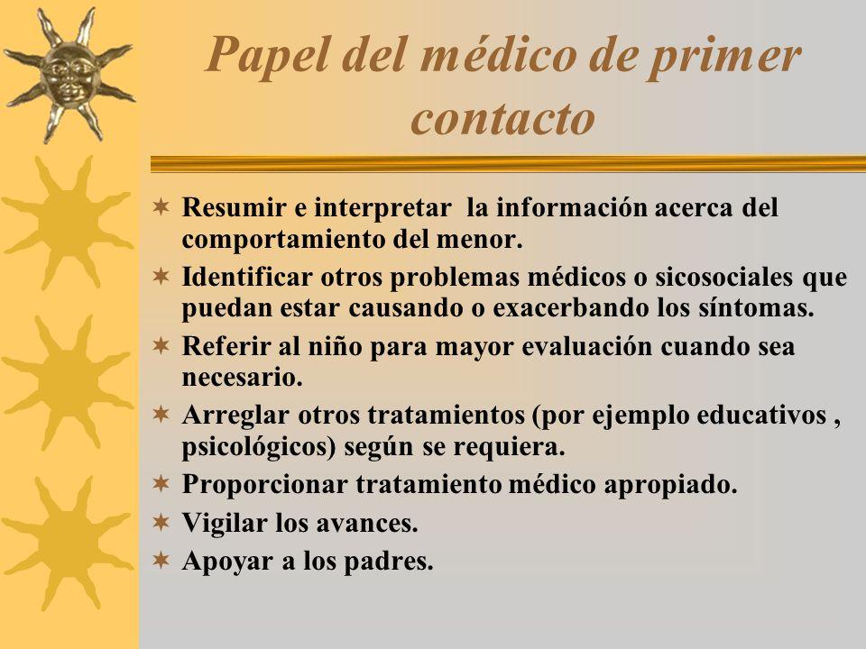 Papel del médico de primer contacto Resumir e interpretar la información acerca del comportamiento del menor. Identificar otros problemas médicos o si