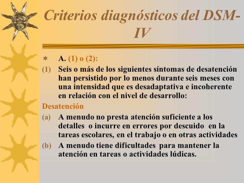 Criterios diagnósticos del DSM- IV A. (1) o (2): (1) Seis o más de los siguientes síntomas de desatención han persistido por lo menos durante seis mes