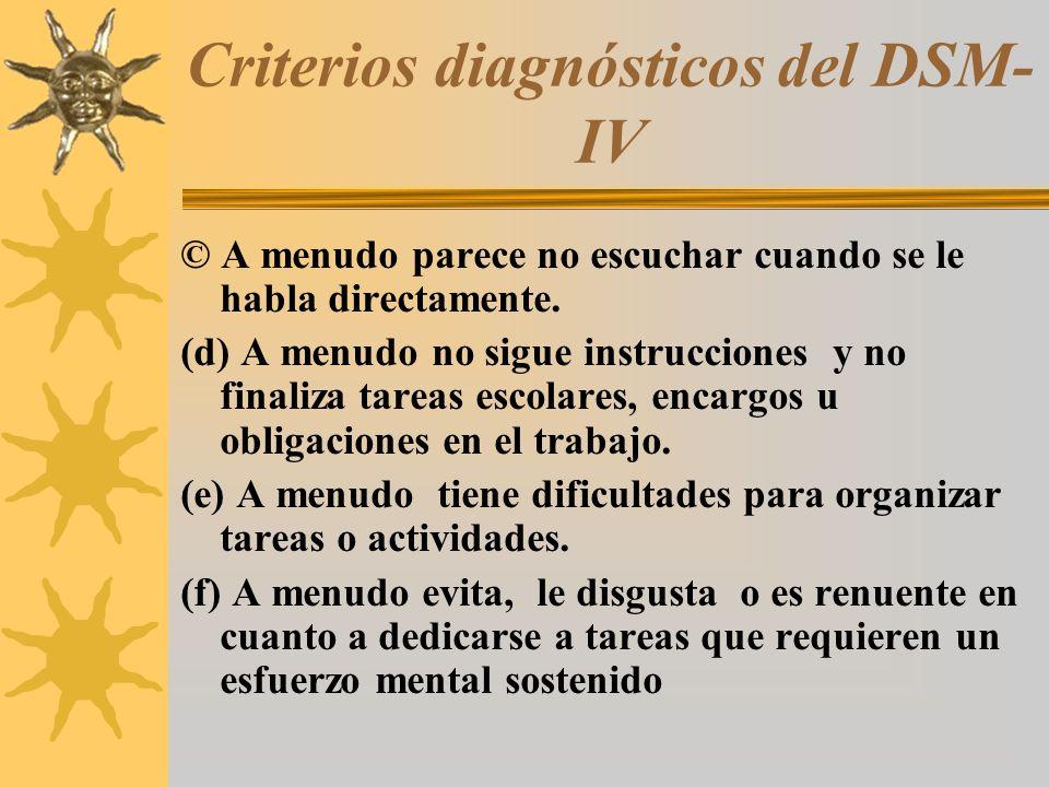 Criterios diagnósticos del DSM- IV © A menudo parece no escuchar cuando se le habla directamente. (d) A menudo no sigue instrucciones y no finaliza ta