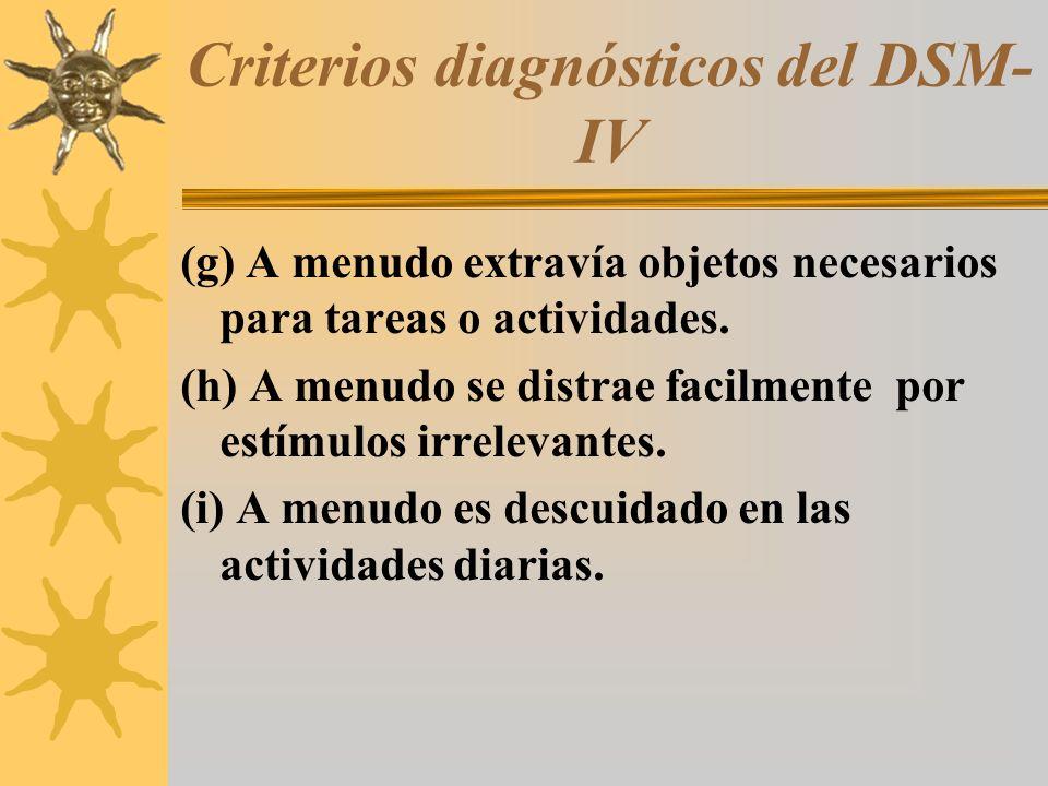 Criterios diagnósticos del DSM- IV (g) A menudo extravía objetos necesarios para tareas o actividades. (h) A menudo se distrae facilmente por estímulo