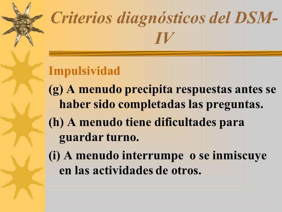 Criterios diagnósticos del DSM- IV Impulsividad (g) A menudo precipita respuestas antes se haber sido completadas las preguntas. (h) A menudo tiene di