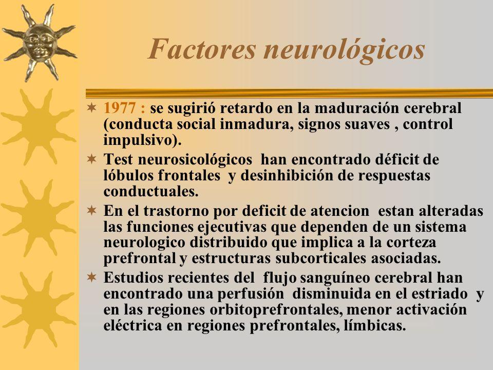 Factores neurológicos 1977 : se sugirió retardo en la maduración cerebral (conducta social inmadura, signos suaves, control impulsivo). Test neurosico