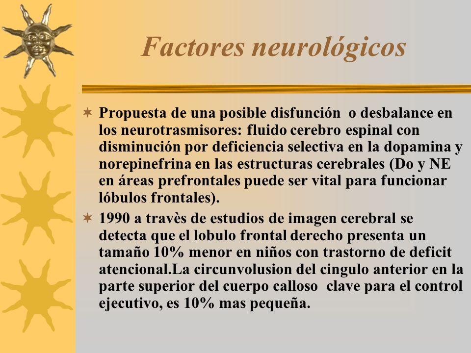 Factores neurológicos Propuesta de una posible disfunción o desbalance en los neurotrasmisores: fluido cerebro espinal con disminución por deficiencia