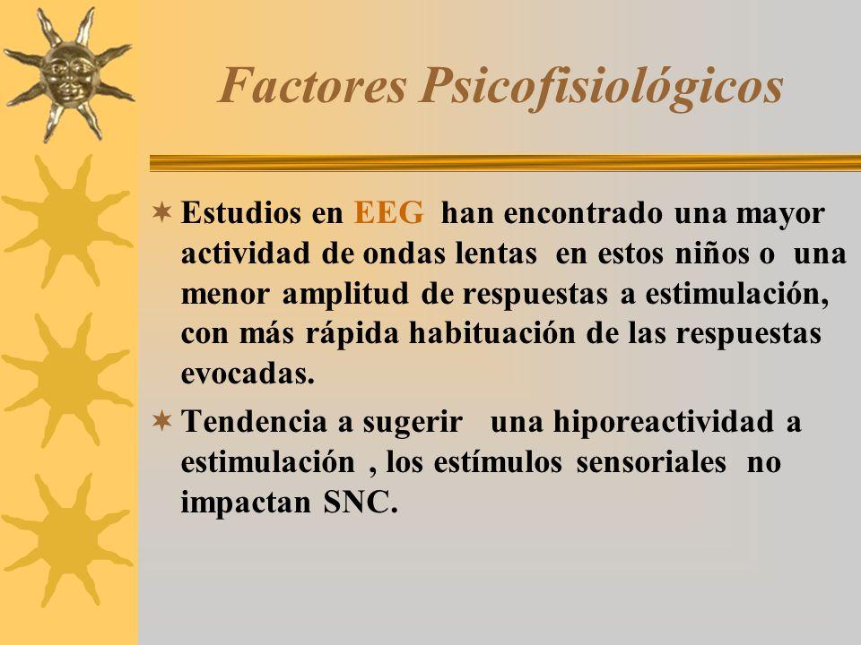 Factores Psicofisiológicos Estudios en EEG han encontrado una mayor actividad de ondas lentas en estos niños o una menor amplitud de respuestas a esti
