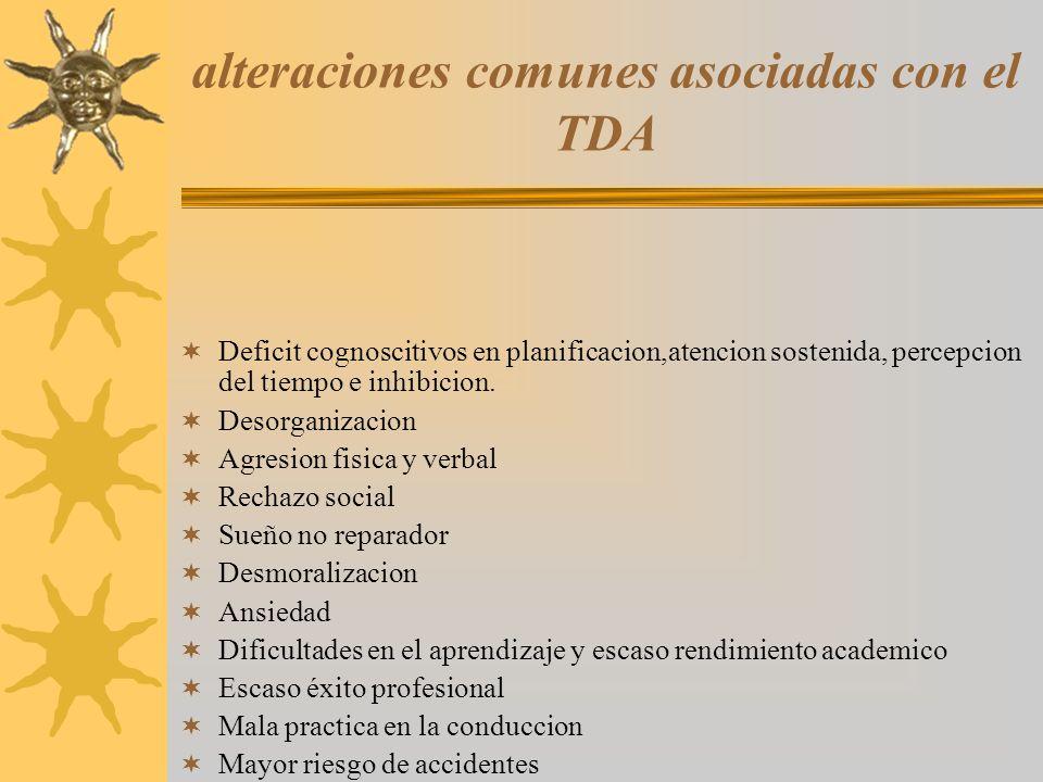 alteraciones comunes asociadas con el TDA Deficit cognoscitivos en planificacion,atencion sostenida, percepcion del tiempo e inhibicion. Desorganizaci