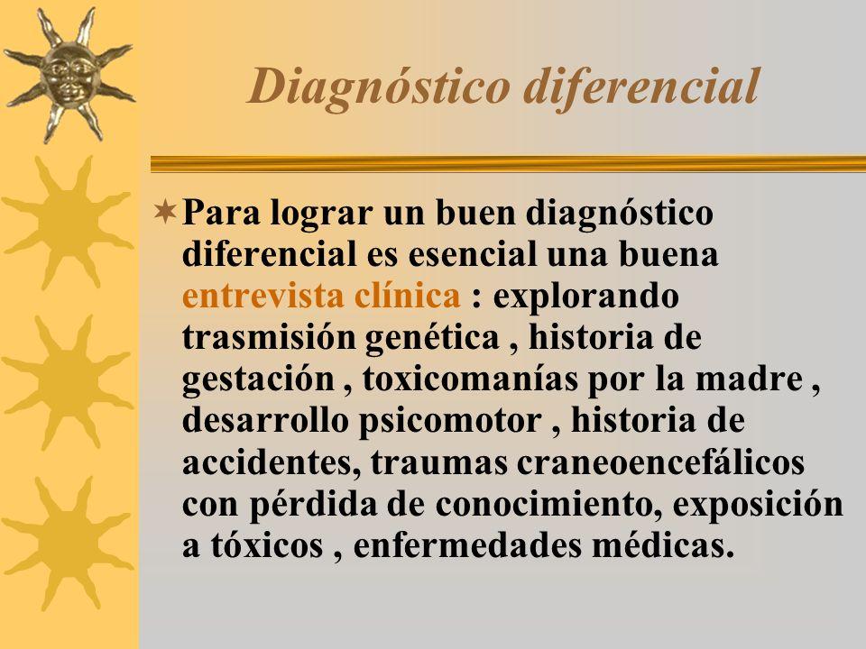 Diagnóstico diferencial Para lograr un buen diagnóstico diferencial es esencial una buena entrevista clínica : explorando trasmisión genética, histori