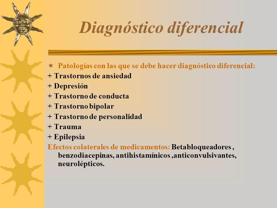 Diagnóstico diferencial Patologías con las que se debe hacer diagnóstico diferencial: + Trastornos de ansiedad + Depresión + Trastorno de conducta + T