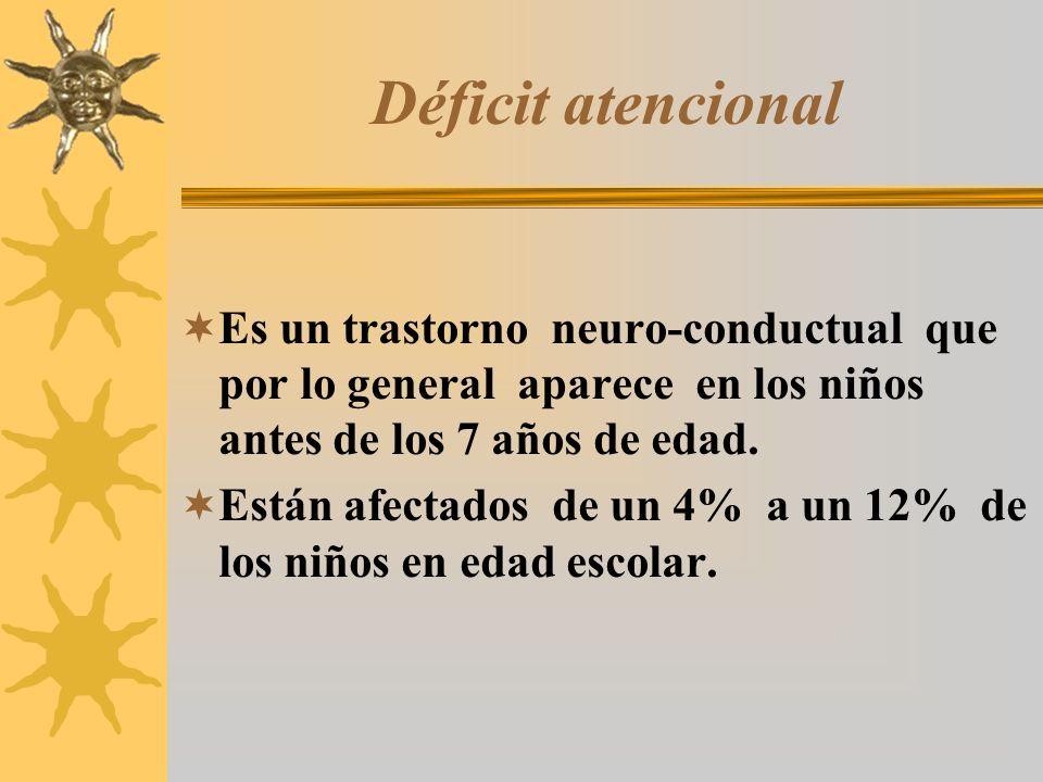 Déficit atencional Es un trastorno neuro-conductual que por lo general aparece en los niños antes de los 7 años de edad. Están afectados de un 4% a un