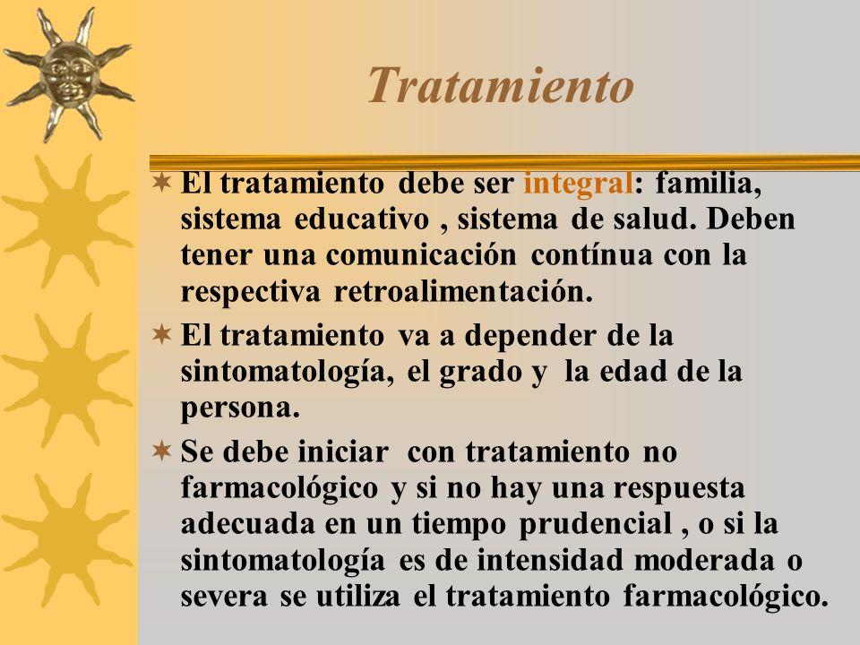 Tratamiento El tratamiento debe ser integral: familia, sistema educativo, sistema de salud. Deben tener una comunicación contínua con la respectiva re