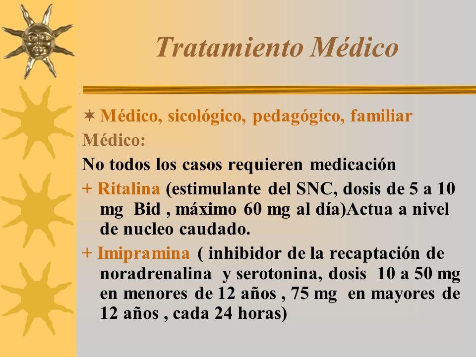 Tratamiento Médico Médico, sicológico, pedagógico, familiar Médico: No todos los casos requieren medicación + Ritalina (estimulante del SNC, dosis de