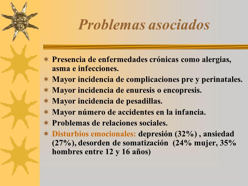 Problemas asociados Presencia de enfermedades crónicas como alergias, asma e infecciones. Mayor incidencia de complicaciones pre y perinatales. Mayor
