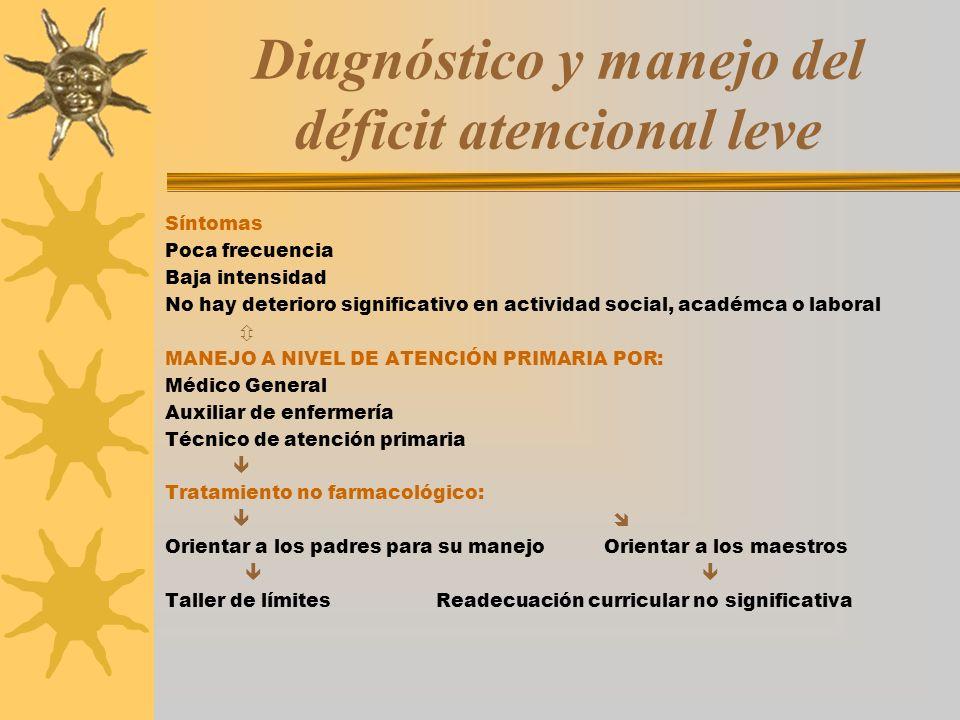 Diagnóstico y manejo del déficit atencional leve Síntomas Poca frecuencia Baja intensidad No hay deterioro significativo en actividad social, académca