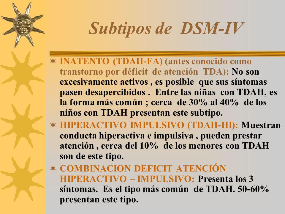 Subtipos de DSM-IV INATENTO (TDAH-FA) (antes conocido como transtorno por déficit de atención TDA): No son excesivamente activos, es posible que sus s
