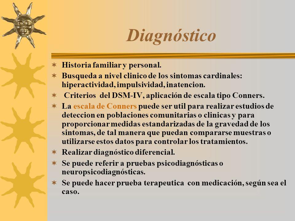 Diagnóstico Historia familiar y personal. Busqueda a nivel clinico de los sintomas cardinales: hiperactividad, impulsividad, inatencion. Criterios del