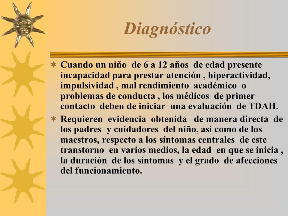 Diagnóstico Cuando un niño de 6 a 12 años de edad presente incapacidad para prestar atención, hiperactividad, impulsividad, mal rendimiento académico