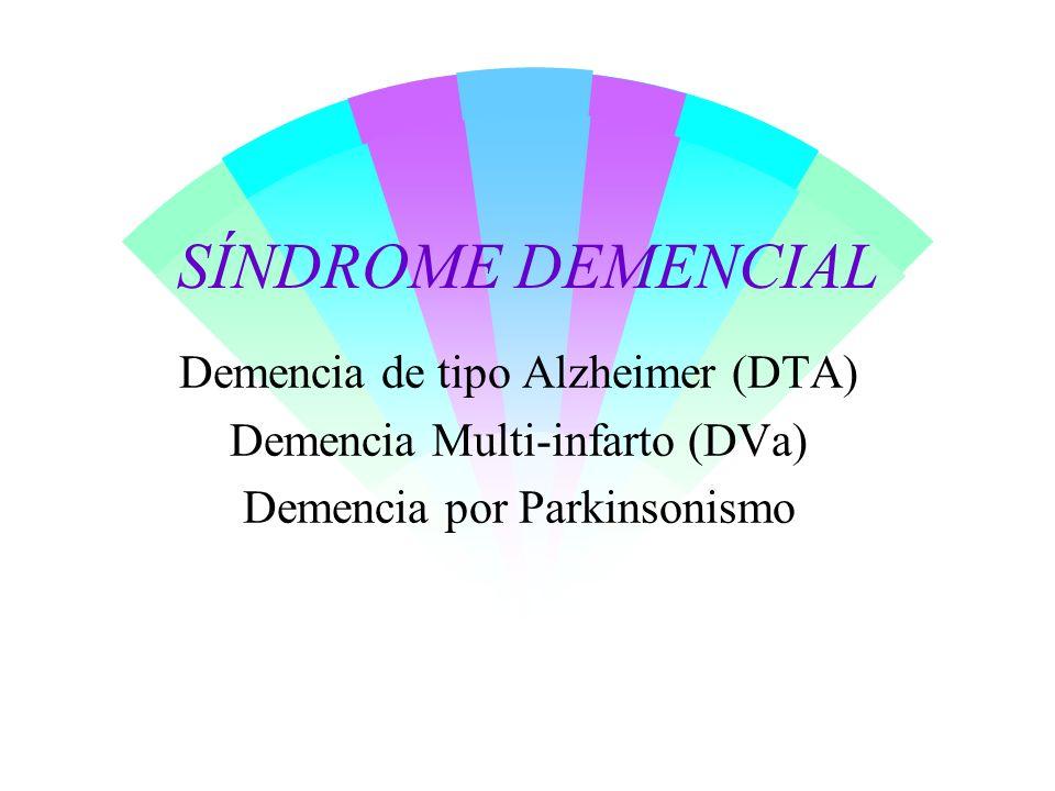 SÍNDROME DEMENCIAL Demencia de tipo Alzheimer (DTA) Demencia Multi-infarto (DVa) Demencia por Parkinsonismo