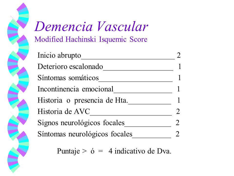Demencia Vascular Modified Hachinski Isquemic Score Inicio abrupto________________________ 2 Deterioro escalonado__________________ 1 Síntomas somátic