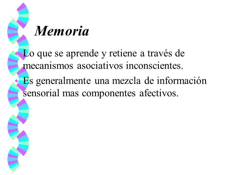 Memoria w Lo que se aprende y retiene a través de mecanismos asociativos inconscientes. w Es generalmente una mezcla de información sensorial mas comp