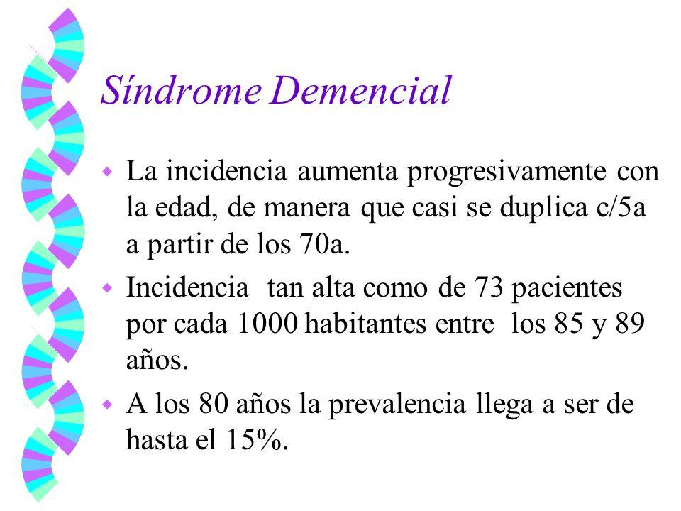 Síndrome Demencial w La incidencia aumenta progresivamente con la edad, de manera que casi se duplica c/5a a partir de los 70a. w Incidencia tan alta