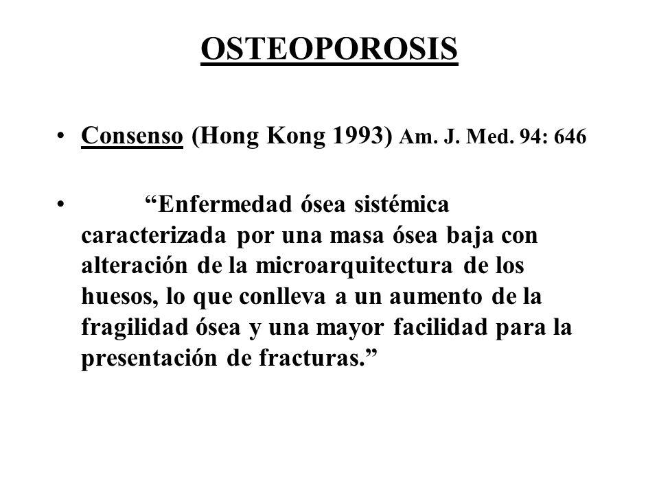 OSTEOPOROSIS Consenso (Hong Kong 1993) Am. J. Med. 94: 646 Enfermedad ósea sistémica caracterizada por una masa ósea baja con alteración de la microar
